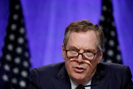 FILE PHOTO: U.S. Trade Representative Robert Lighthizer speaks at a news conference