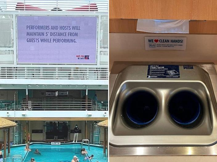 The screen above the pool shares COVID-related messages while dining areas have places to wash your hands before eating.