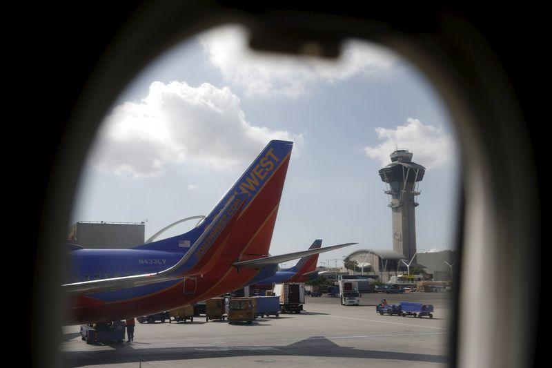 Southwest Airlines planes are seen at LAX airport in Los Angeles