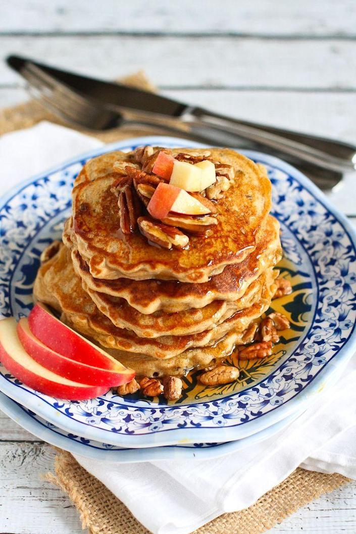 """<p>Apples are another great fruit to top your pancakes with. Their crunchy tartness is a great companion to fluffy flapjacks. </p><p><strong>Get the recipe from <a href=""""https://www.thepioneerwoman.com/food-cooking/recipes/a79117/apple-spiced-pancakes/"""" rel=""""nofollow noopener"""" target=""""_blank"""" data-ylk=""""slk:Dara Michalski"""" class=""""link rapid-noclick-resp"""">Dara Michalski</a>. </strong></p><p><a class=""""link rapid-noclick-resp"""" href=""""https://go.redirectingat.com?id=74968X1596630&url=https%3A%2F%2Fwww.walmart.com%2Fip%2F20-Piece-Silverware-Set-Stainless-Steel-Flatware-Set-Service-4-Tableware-Cutlery-Home-Restaurant-Dinner-Knives-Forks-Spoons-Mirror-Polished-Dishwashe%2F217104799&sref=https%3A%2F%2Fwww.thepioneerwoman.com%2Ffood-cooking%2Fmeals-menus%2Fg36146701%2Fbest-pancake-toppings%2F"""" rel=""""nofollow noopener"""" target=""""_blank"""" data-ylk=""""slk:SHOP FLATWARE"""">SHOP FLATWARE</a></p>"""