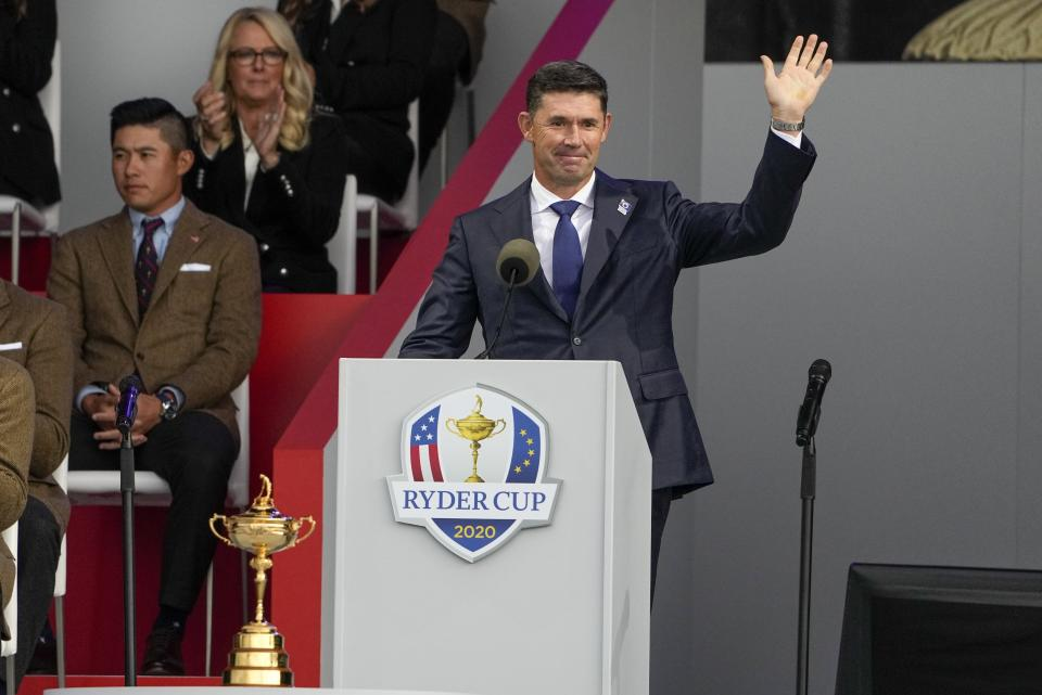 Team Europe captain Padraig Harrington speaks during the opening ceremony for the Ryder Cup at the Whistling Straits Golf Course Thursday, Sept. 23, 2021, in Sheboygan, Wis. (AP Photo/Jeff Roberson)