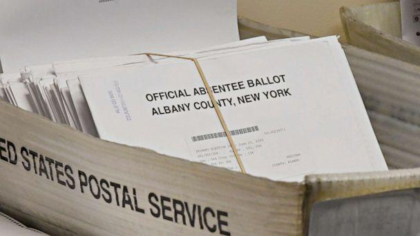 PHOTO: Box of absentee ballots waiting to be counted at the Albany County Board of Elections, June 30, 2020, in Albany, N.Y. (Hans Pennink/AP)