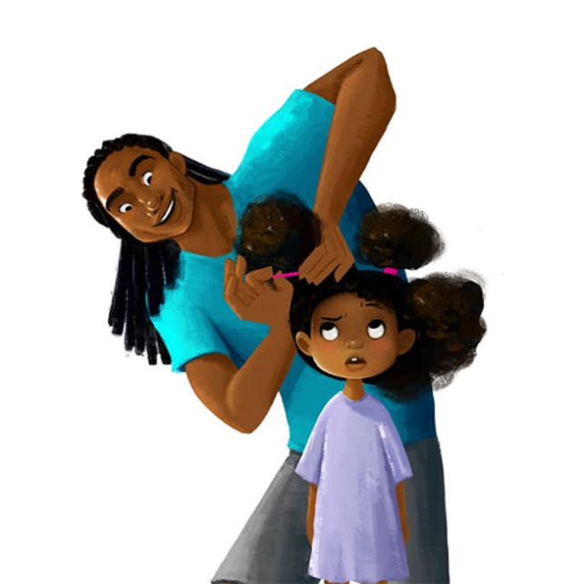 An adorable new animated film, <em>Hair Love</em>, will feature fathers, daughters, and natural hair. (Photo: Matthewacherry/Twitter)