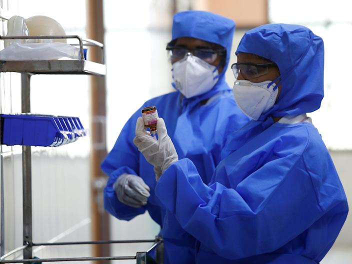 Medical staff with protective clothing work inside a ward specialised in receiving any person who may have been infected with coronavirus, at the Rajiv Ghandhi Government General hospital in Chennai, India, January 29, 2020.