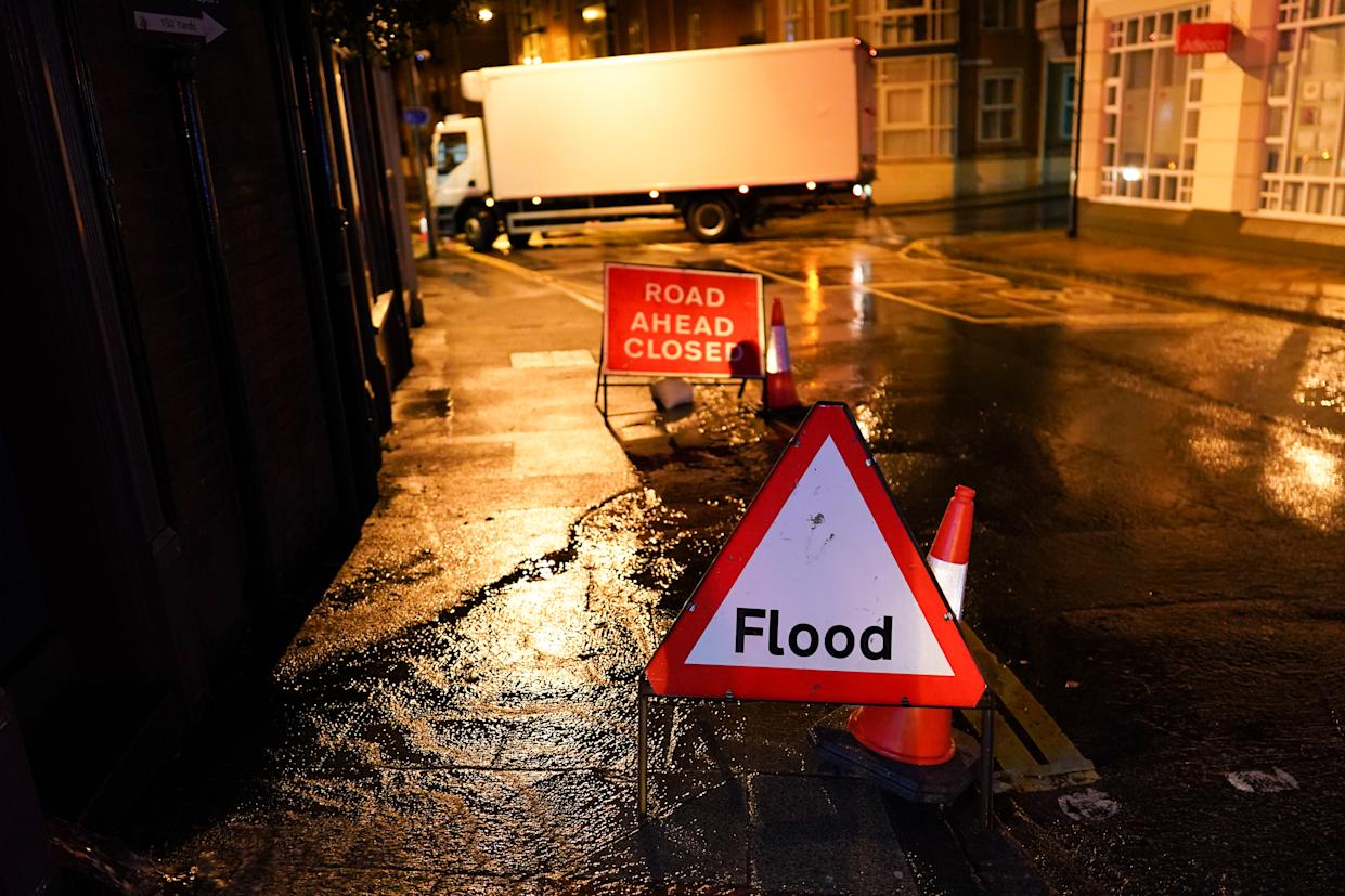 YORK, ENGLAND - JANUARY 21: Roads are closed alongside the River Ouse in York following flooding as rain and recent melting snow raise river levels on January 21, 2021 in York, England. Storm Christoph is the first named storm of 2021 with heavy rain and snowfall bringing flooding to areas of the UK including Yorkshire, Greater Manchester and Cambridgeshire. (Photo by Ian Forsyth/Getty Images)