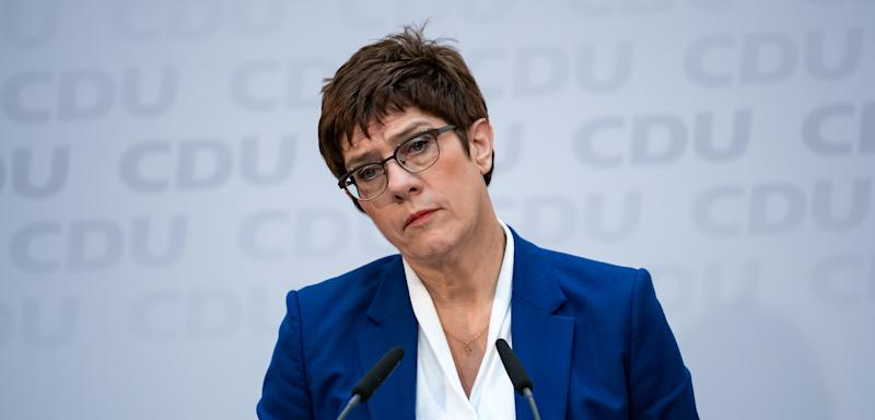 10 February 2020, Berlin: Annegret Kramp-Karrenbauer, chairwoman of the CDU, speaks at a press conference after the CDU committee meetings in the Konrad-Adenauer-Haus. CDU leader Kramp-Karrenbauer has announced at today's meeting of the CDU presidium that she will not run for chancellor. Photo: Bernd von Jutrczenka/dpa (Photo by Bernd von Jutrczenka/picture alliance via Getty Images)