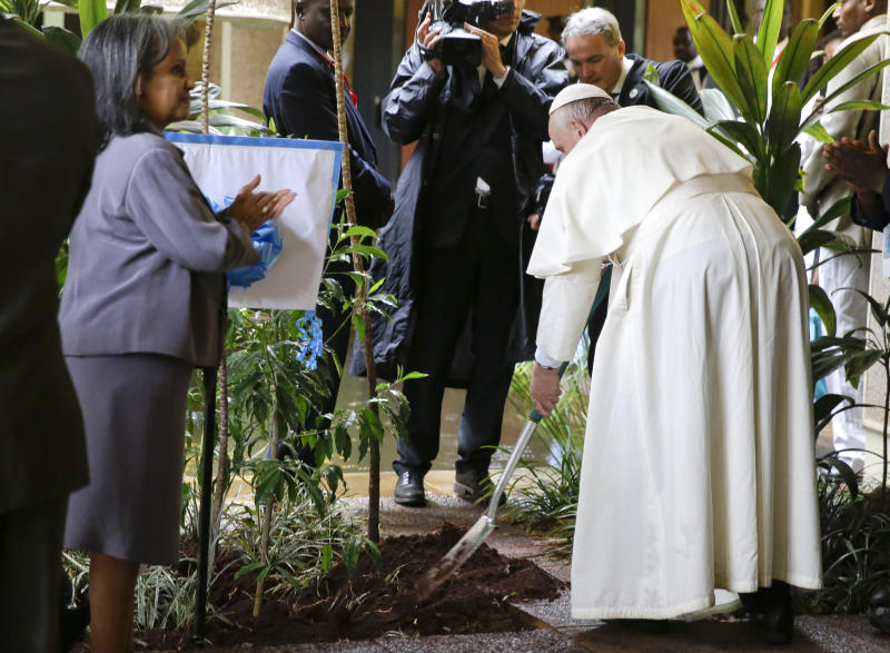 """FILE - In this Nov. 26, 2015 file photo Pope Francis plants a tree during a visit to the United Nations regional office, in Nairobi, Kenya. Pope Francis issued an appeal in a message Sunday, Sept. 1, 2019, to raise political awareness about pollution and exploitation of natural resources, urging governments to show the """"political will"""" to take drastic steps to deal with climate change and says it's time to abandon dependence on fossil fuels. (AP Photo/Andrew Medichini, file)"""