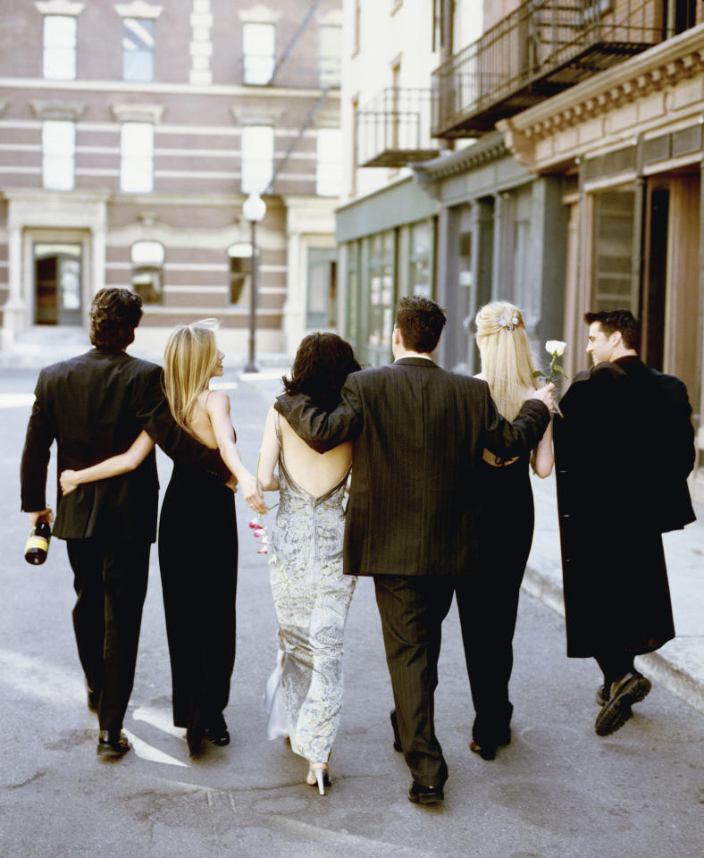 Set in the streets of New York, this season 6 promo shoot showcases the cast dressed up in their finest outfits. David Schwimmer is even holding a bottle of bubbly to denote just how much of a great time they're having. (Getty Images)