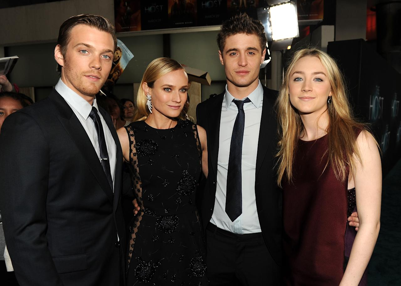 """HOLLYWOOD, CA - MARCH 19: (L-R) Actors Jake Abel, Diane Kruger, Max Irons, and Saoirse Ronan attend the premiere of Open Road Films """"The Host"""" at ArcLight Cinemas Cinerama Dome on March 19, 2013 in Hollywood, California.  (Photo by Kevin Winter/Getty Images)"""