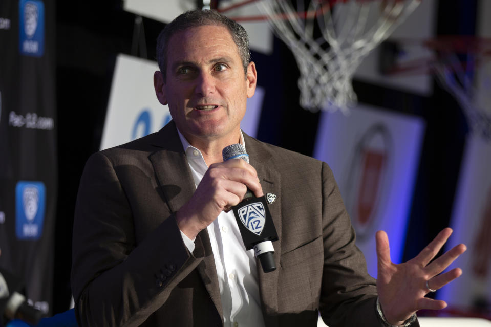 Pac-12 commissioner Larry Scott speaks to reporters during the Pac-12 women's college basketball media day on Oct. 7, 2019. (AP)
