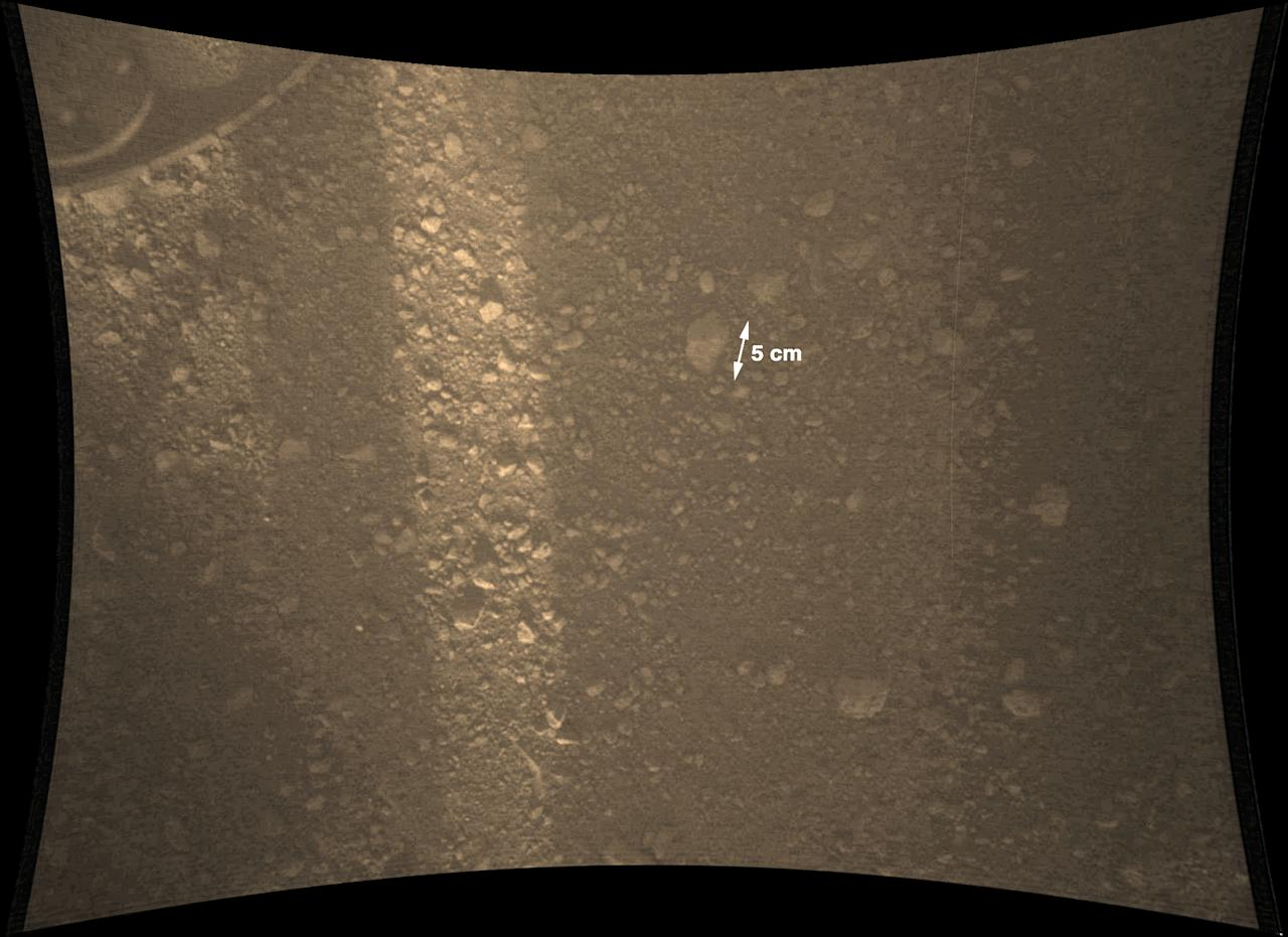 IN SPACE - AUGUST 8:  In this handout image provided by NASA and released on August 8, 2012, a full-resolution color image from NASA's Curiosity Rover shows the pebble-covered surface of Mars. It was taken by the Mars Descent Imager (MARDI) several minutes after Curiosity touched down. The camera is about 30 inches (70 centimeters) from the surface as the rover sits on the ground. The image pixel scale is about 0.02 inches (0.5 millimeters), but the camera is slightly out of focus at this distance, so the actual ground scale is about 0.06 inches (1.5 millimeters). A sliver of sunlight passing through the structure of the rover illuminates the surface. The largest rock fragment in the image is about 2 inches (5 centimeters) long. Most are much smaller. A rover wheel is visible at the top left. (Photo by NASA/JPL-Caltech/MSSS via Getty Images)