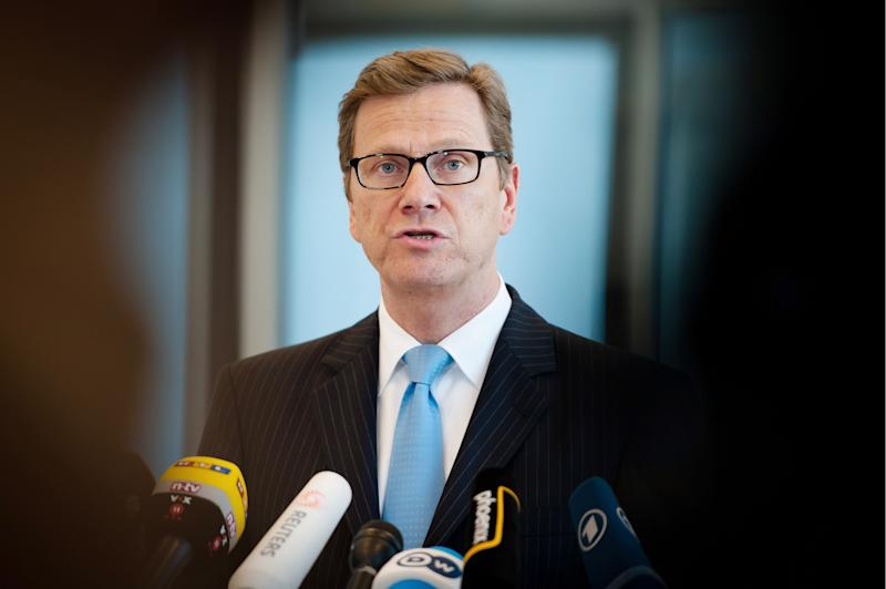 """German Foreign Minister Guido Westerwelle gives a statement on Iran in Berlin, Tuesday March 6, 2012. German Foreign Minister Guido Westerwelle called for a diplomatic solution to the Mideast impasse. """"A nuclear-armed Iran must be prevented,"""" he said. (AP Photo/dapd/ Maja Hitij)"""