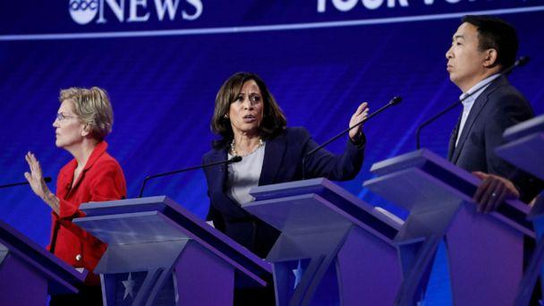PHOTO: Democratic presidential hopefuls Sen. Elizabeth Warren, Sen. Kamala Harris and Andrew Yang participate in the third Democratic primary debate hosted by ABC News in Houston, Sept. 12, 2019. (Heidi Gutman/Walt Disney Television)