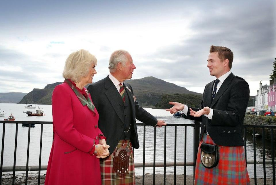 Robert Robertson talks to the royal visitors (William Urquhart/PA) (PA Wire)