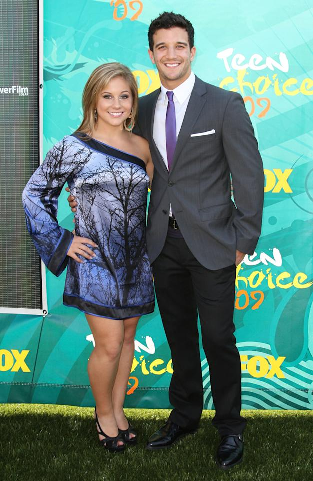 (L-R) Olympic Gold Medalist Shawn Johnson and dancer Mark Ballas arrive at the 2009 Teen Choice Awards held at Gibson Amphitheatre on August 9, 2009 in Universal City, California.