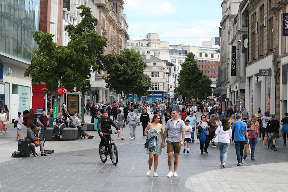 People walk through Liverpool city centre, after lockdown measures were eased in July: PA