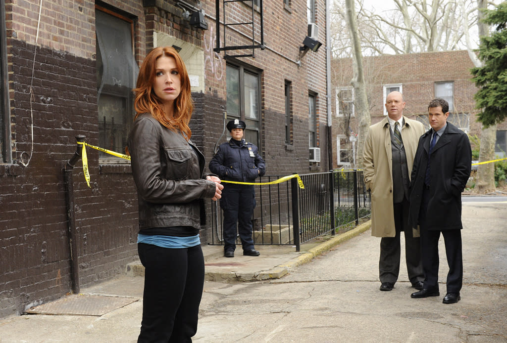 """<b>""""Unforgettable""""</b> (CBS)<br>Tuesdays at 10 PM<br><br><b>The Good News:</b> The procedural drama couldn't be more tailor-made for CBS. It even stars Poppy Montgomery, a veteran of CBS' long-running crime drama """"Without a Trace."""" It routinely wins its timeslot, in both viewers and the demo rating.<br><b><br>The Bad News:</b> Despite following the network's Tuesday night """"NCIS""""/""""NCIS: Los Angeles"""" tentpole, it's one of CBS' lowest-rated crime dramas. (The only ones lower are also on this list.) While 11 million viewers is nothing to sneeze at, CBS can (and most likely will be) ruthless."""
