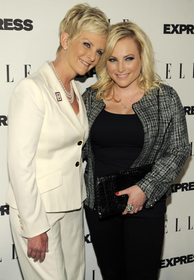 "Author and columnist Meghan McCain, right, poses with her mother Cindy as they arrive at the ELLE and Express ""25 at 25"" event in West Hollywood, Calif., Thursday, Oct. 7, 2010. (AP Photo/Chris Pizzello)"