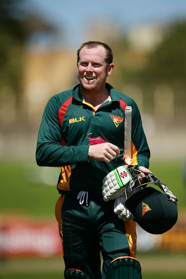 SYDNEY, AUSTRALIA - OCTOBER 18: Ben Dunk of the Tigers smiles as he walks from the field at the end of the innings after scoring 229 not out during the Matador BBQs One Day Cup match between Queensland and Tasmania at North Sydney Oval on October 18, 2014 in Sydney, Australia. (Photo by Matt King/Getty Images)