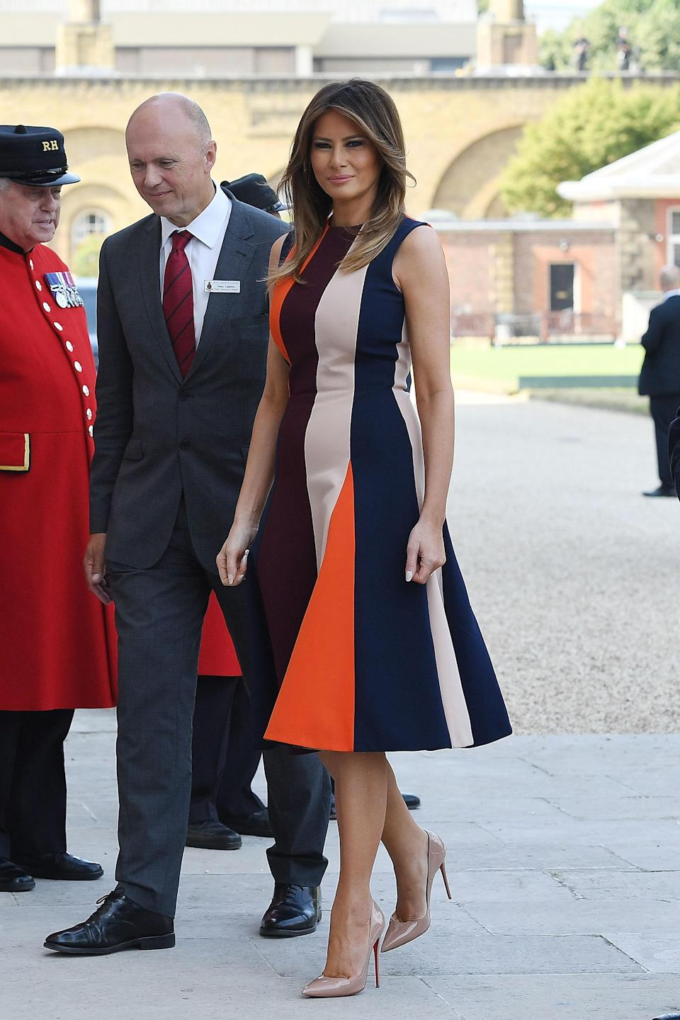 The first lady gave the British fashion a nod by wearing a Victoria Beckham dress. (Photo: Leon Neal/Getty Images)