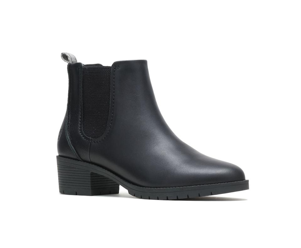 Women's Hadley Chelsea Boot in Black Leather. Image via Hush Puppies.