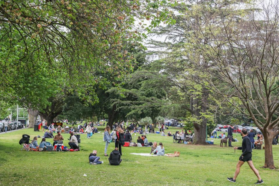 Park-goers and picnic-goers at the botanical gardens in Melbourne.