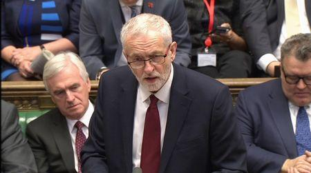 A still image from a video footage shows Britain's opposition Labour Party leader Jeremy Corbyn addressing the House of Commons in central London