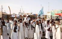 Demonstrators have staged a string of protests against the transitional government's policies in recent months (AFP/Ibrahim ISHAQ)