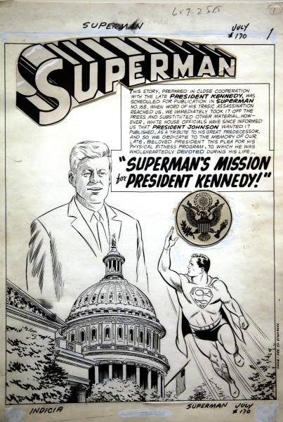 """A page of original art work drawn by Al Plastino for the 1964 DC comic book """"Superman's Mission for President Kennedy"""" is on display for the first time today at the John F. Kennedy Presidential Library and Museum in Boston, Thursday, March 20, 2014. After publication the art went missing until 1993. It was finally donated to the library's permanent collection in December 2013 by comic book publisher DC Entertainment and will be on display through May 31, 2014. (AP Photo/Stephan Savoia)"""