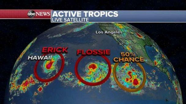 PHOTO: Erick and Flossie are heading west in the Pacific Ocean. (ABC News)