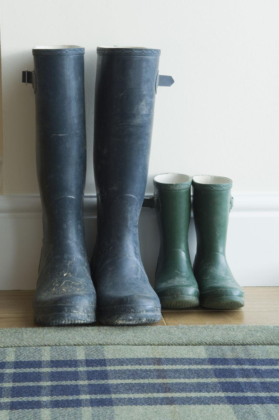 """<p>Rain boots at a thrift store may seem like a bargain, but waterproof apparel can wear over the years and <a href=""""https://www.insider.com/things-you-should-not-buy-at-a-thrift-store-2017-8#rain-gear-7"""" rel=""""nofollow noopener"""" target=""""_blank"""" data-ylk=""""slk:become less effective"""" class=""""link rapid-noclick-resp"""">become less effective</a>. Trust us, no one likes soggy feet. Best to buy a new pair. </p>"""