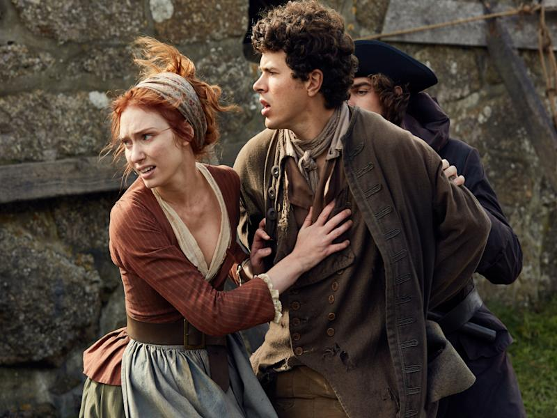 Eleanor Tomlinson and Harry Richardson as Demelza Poldark and Drake Carne: BBC
