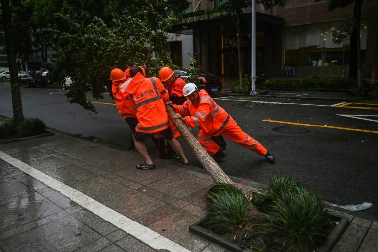 Workers attempt to remove a fallen tree as winds from Typhoon In-Fa start to affect Ningbo