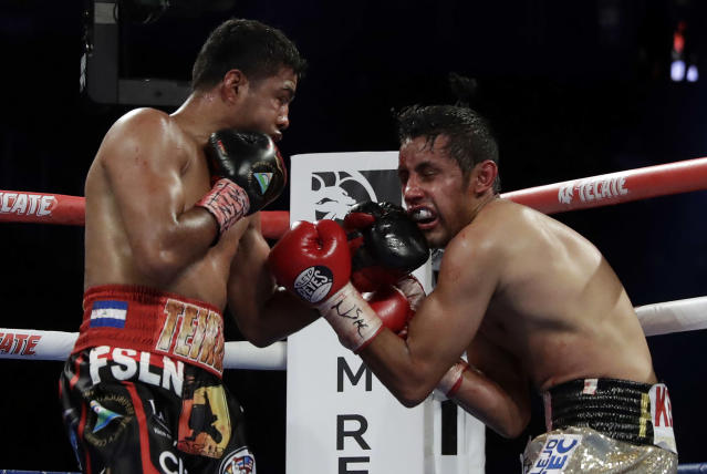 Roman Gonzalez, left, punches Moises Fuentes during their bantamweight boxing match, Saturday, Sept. 15, 2018, in Las Vegas. Gonzalez won by TKO. (AP Photo/Isaac Brekken)