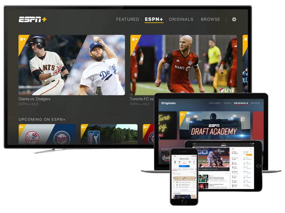 The ESPN+ app showing on multiple devices including TV, laptop, tablet, and smartphone.