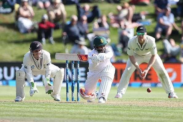 DUNEDIN, NEW ZEALAND - MARCH 08: Temba Bavuma of South Africa bats during day one of the First Test match between New Zealand and South Africa at University Oval on March 8, 2017 in Dunedin, New Zealand. (Photo by Dianne Manson/Getty Images)