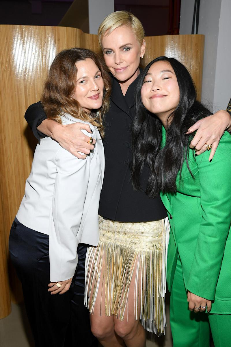 Charlize Theron with Drew Barrymore and Awkwafina(Getty Images)