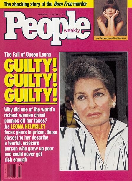 "<p>The hotel tycoon became a symbol of 1980s excess and greed, and was dubbed by ""The Queen of Mean"" by the New York tabloids for her treatment of employees at the Helmsley hotel chain.  Then she went on trial for income tax evasion and fraud, and her fall from grace spawned a media frenzy. During her trial, a former housekeeper testified that Helmsley had once told her, ""We don't pay taxes. Only the little people pay taxes.""  In 1989, Helmsley was convicted on a host of tax offenses. She served 18 months in prison after the judge ordered her sentence to start on April 15 – Tax Day.</p>"