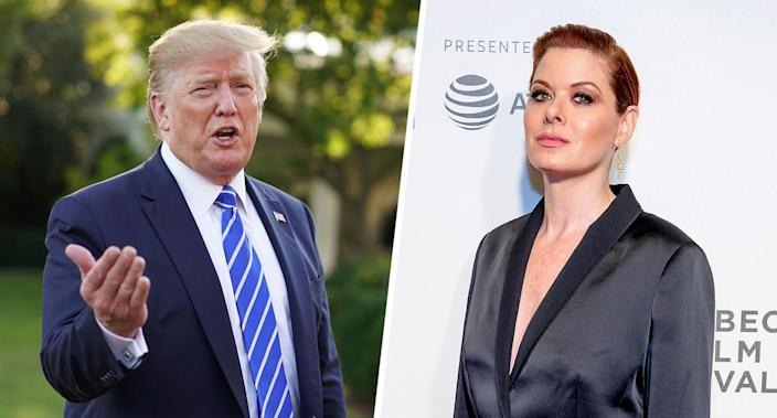 President Trump (Photo: Mandel Ngan/AFP/Getty Images); Debra Messing (Photo: Roy Rochlin/Getty Images for Tribeca Film Festival)