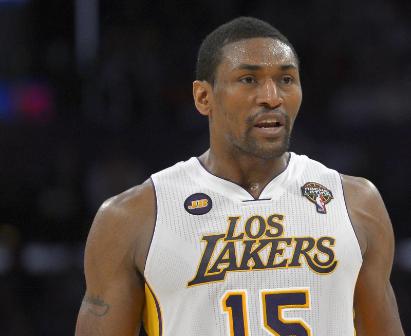 FILE - In this March 3, 2013 file photo, Los Angeles Lakers forward Metta World Peace is seen during an NBA basketball game against the Atlanta Hawks in Los Angeles. World Peace will have surgery Thursday, March 28,  on a torn meniscus in his left knee and miss the next six weeks. The Lakers announced the timeline on Wednesday, March 27.  (AP Photo/Mark J. Terrill, file)