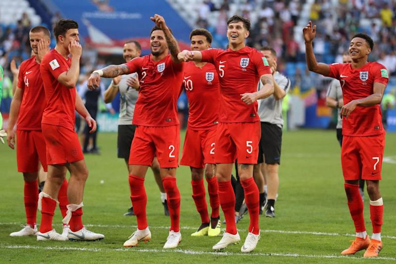 England players celebrating their win against Sweden (PA)