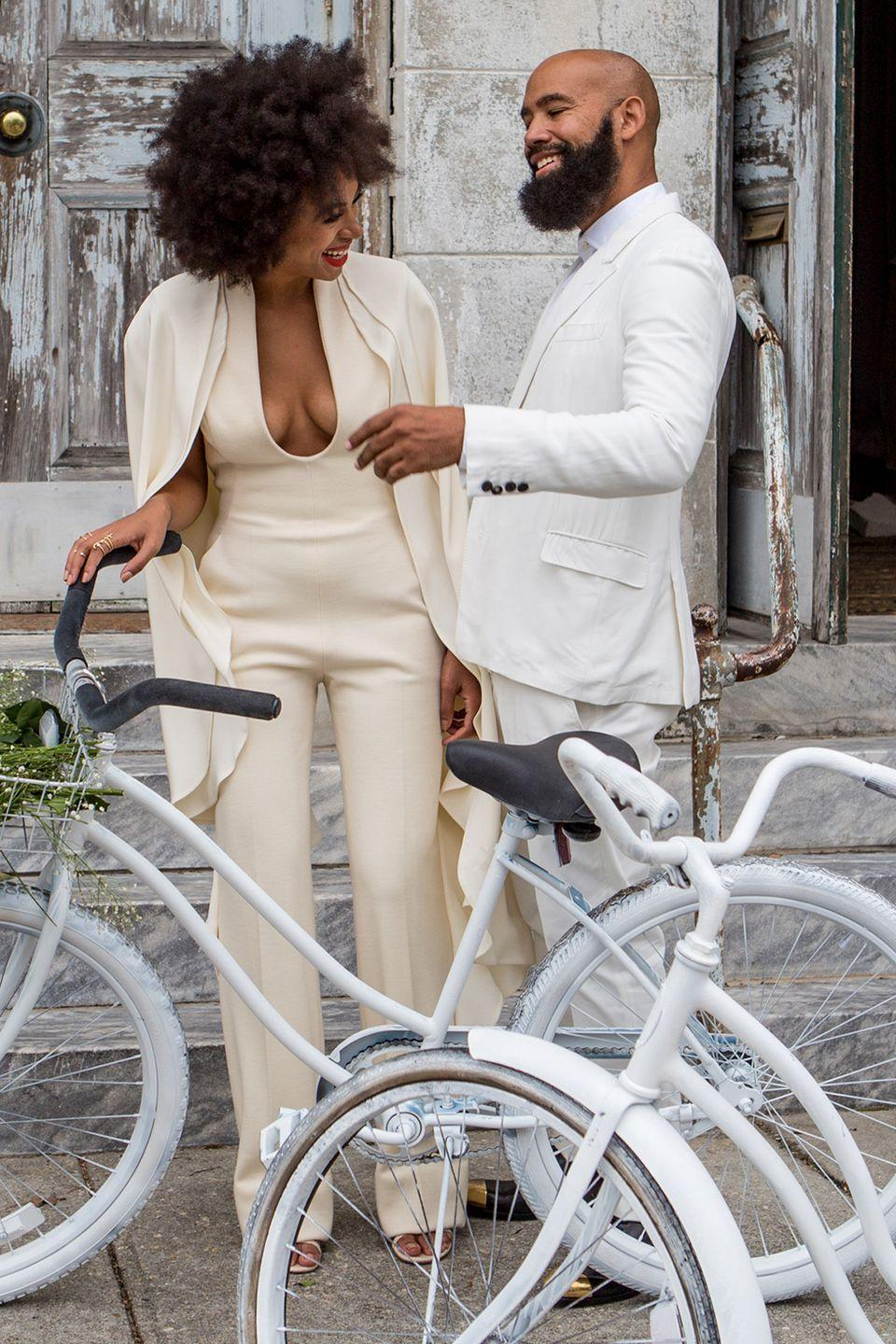 <p>Always the cool trendsetter, Solange's cream-colored bridal jumpsuit was one of several outfits she wore throughout her lavish wedding weekend in New Orleans. </p>