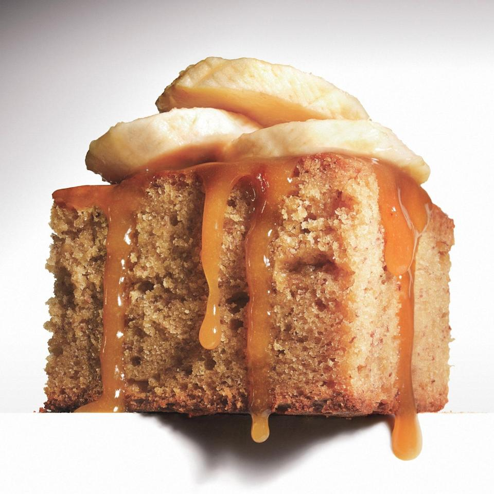 """To make this toffee sauce, combine corn syrup, brown sugar, heavy whipping cream, and salt into a sauce pan and whisk over medium heat. Then, drizzle it all over your freshly baked banana cake. Top the whole thing off with plenty of sliced bananas and enjoy. <a href=""""https://www.epicurious.com/recipes/food/views/sticky-toffee-banana-pudding-364093?mbid=synd_yahoo_rss"""" rel=""""nofollow noopener"""" target=""""_blank"""" data-ylk=""""slk:See recipe."""" class=""""link rapid-noclick-resp"""">See recipe.</a>"""