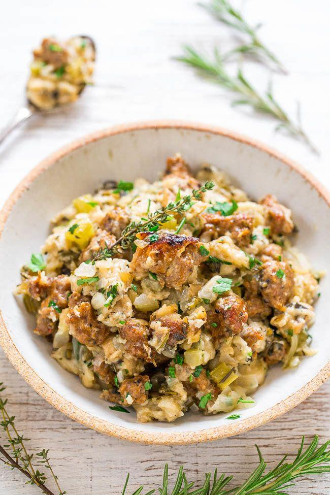 "<strong>Get the <a href=""https://www.averiecooks.com/2016/11/slow-cooker-sausage-stuffing.html"" target=""_blank"">Slow Cooker Sausage Stuffing recipe</a> from </strong><strong>Averie Cooks</strong>"