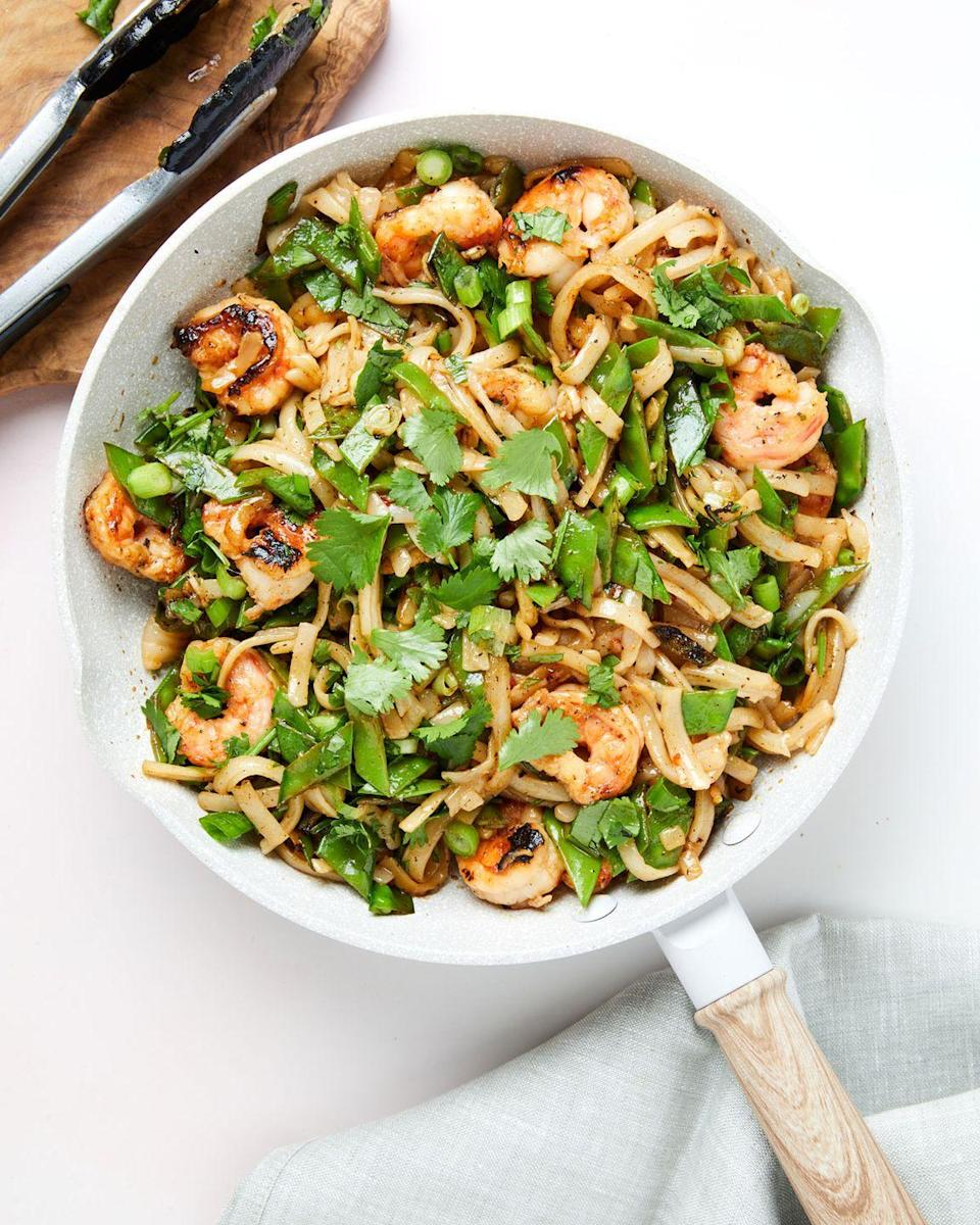"""<p>Allowing the shrimp some time to marinate adds an extra layer of flavor to really make those five ingredients stretch. </p><p>Get the recipe from <a href=""""https://www.delish.com/cooking/recipe-ideas/a35131589/shrimp-and-snow-pea-stir-fry-recipe/"""" rel=""""nofollow noopener"""" target=""""_blank"""" data-ylk=""""slk:Delish"""" class=""""link rapid-noclick-resp"""">Delish</a>.</p>"""