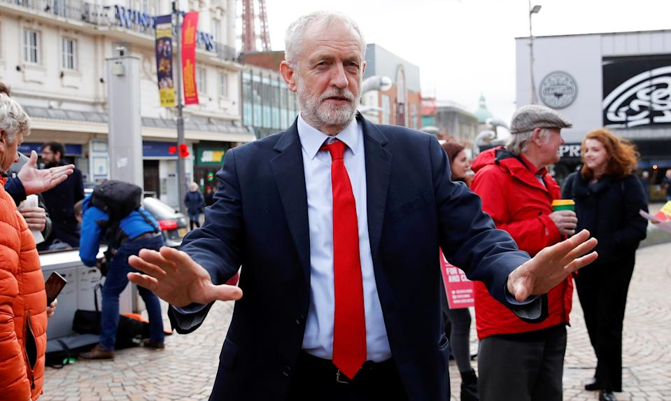 Labour Party leader Jeremy Corbyn during an election campaign event in Blackpool on November 12, 2019.  (REUTERS/Phil Noble)