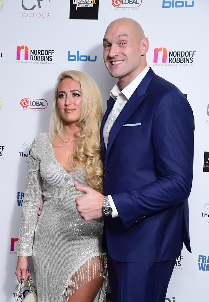 Paris and Tyson Fury attend the Nordoff Robbins Boxing Dinner at the Hilton Hotel, London. (Ian West/PA Images via Getty Images)
