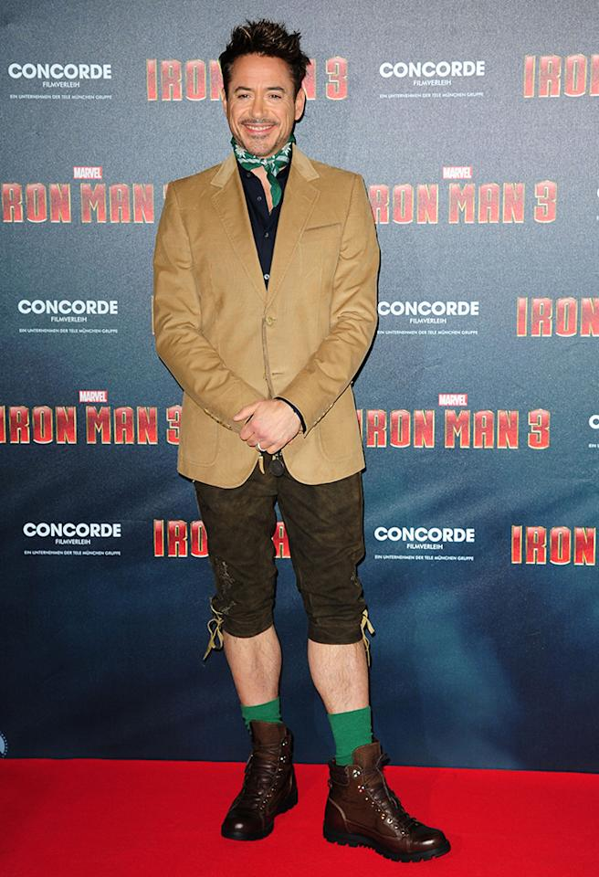 "He was in Munich, Germany, promoting ""Iron Man 3,"" so we'll cut Robert Downey, Jr. some slack for sporting traditional lederhosen to the premiere of the soon-to-be blockbuster. His neckerchief, on the other hand, is inexcusable. (4/12/2013)"