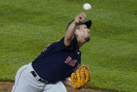 Boston Red Sox's Hirokazu Sawamura, of Japan, delivers a pitch during the seventh inning of a baseball game against the New York Yankees, Friday, June 4, 2021, in New York. (AP Photo/Frank Franklin II)