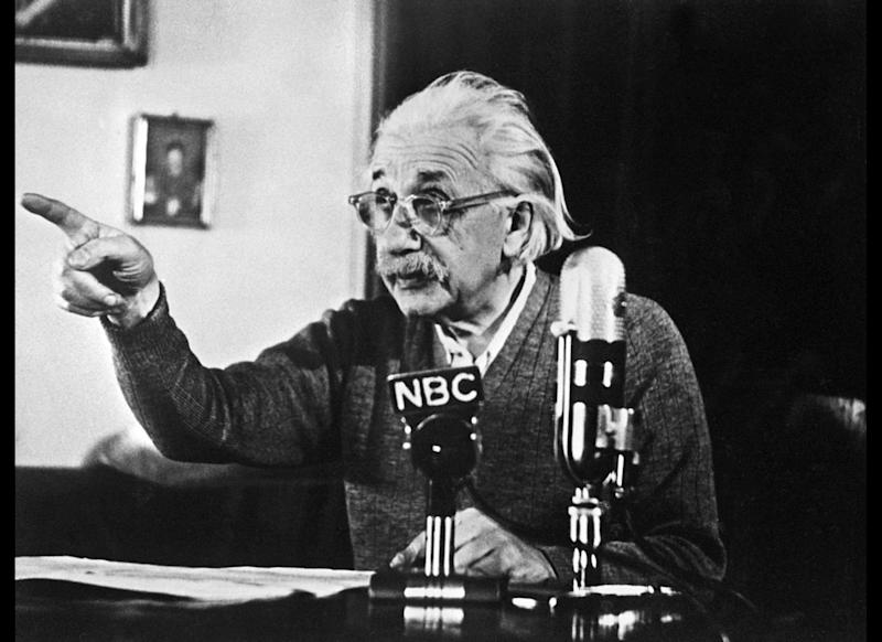 PRINCETON, : German-born Swiss-US physicist Albert Einstein, author of the theory of relativity, declares his opposition to the 'H' bomb and to the arms race between the USA and the USSR in a conference 14 February 1950 in Princeton during a TV broadcast which created a considerable stir in the United States and all over the Western World. (Photo credit should read AFP/AFP/Getty Images)